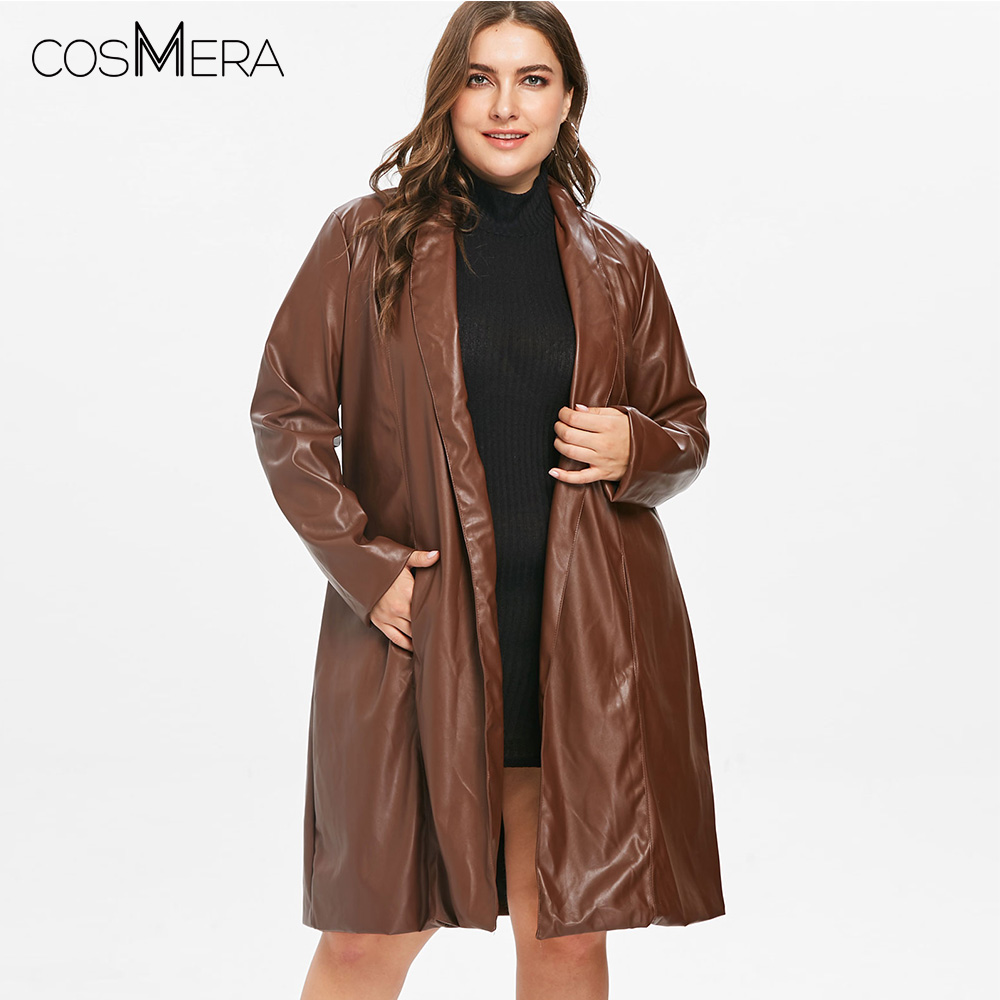 CosMera Long Coat Faux Leather Knee Length   Trench   Coat Winter Women PU Leather   Trench   Fashion Ladies Coats Outerwear Plus Size