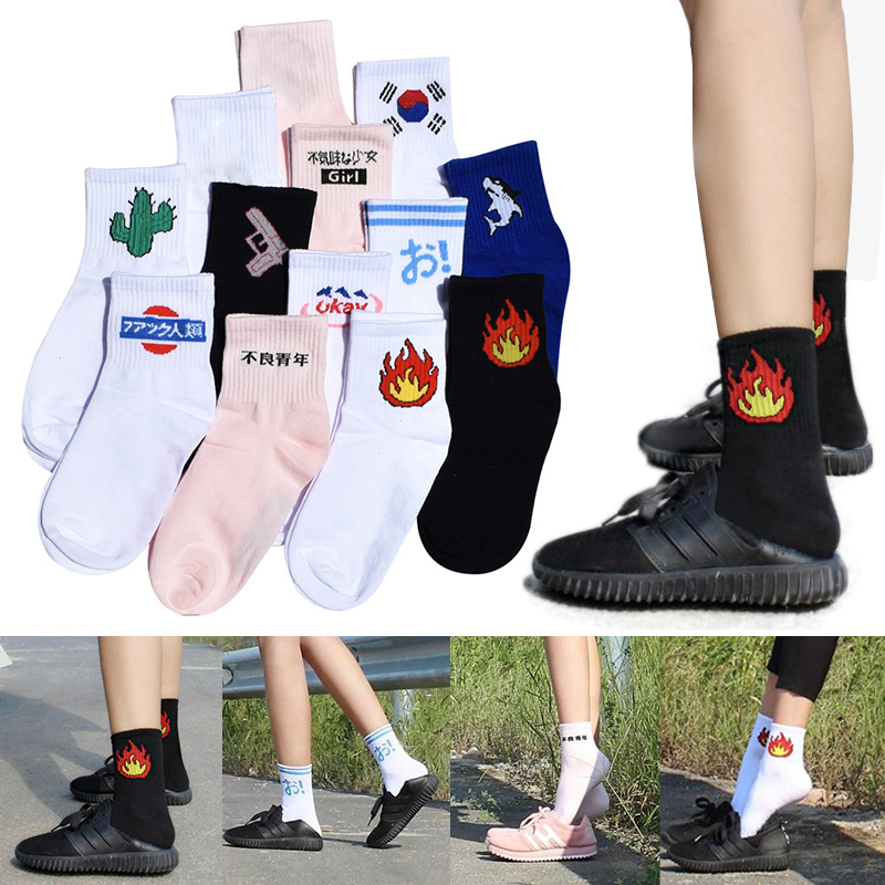 Men Women Shark Students Socks Daily Alien Flame Harajuku Cotton Socks Soft Cactus Kitten Sport Socks Fashion