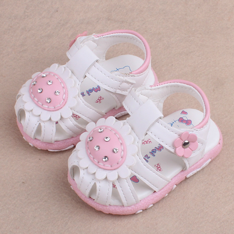2019 Baby Girls Sandals Newborn Girl Shoe Summer Floral Baby Shoes Fashion Infant Sandals For Girls Leather Baby Shoes 15-19
