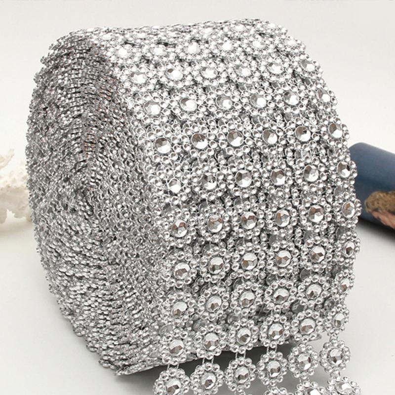1 ярд Серебряный Подсолнух сетка обертывание кристалл горный хрусталь Блестящая лента для свадебного украшения
