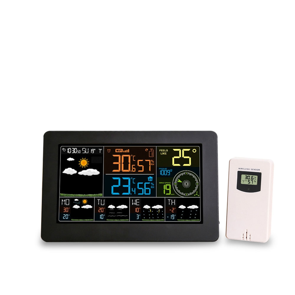 Wifi Weather Station Wall Digital Alarm Clock Thermometer Hygrometer Future Weather Forecast Wind Direction BarometerWifi Weather Station Wall Digital Alarm Clock Thermometer Hygrometer Future Weather Forecast Wind Direction Barometer