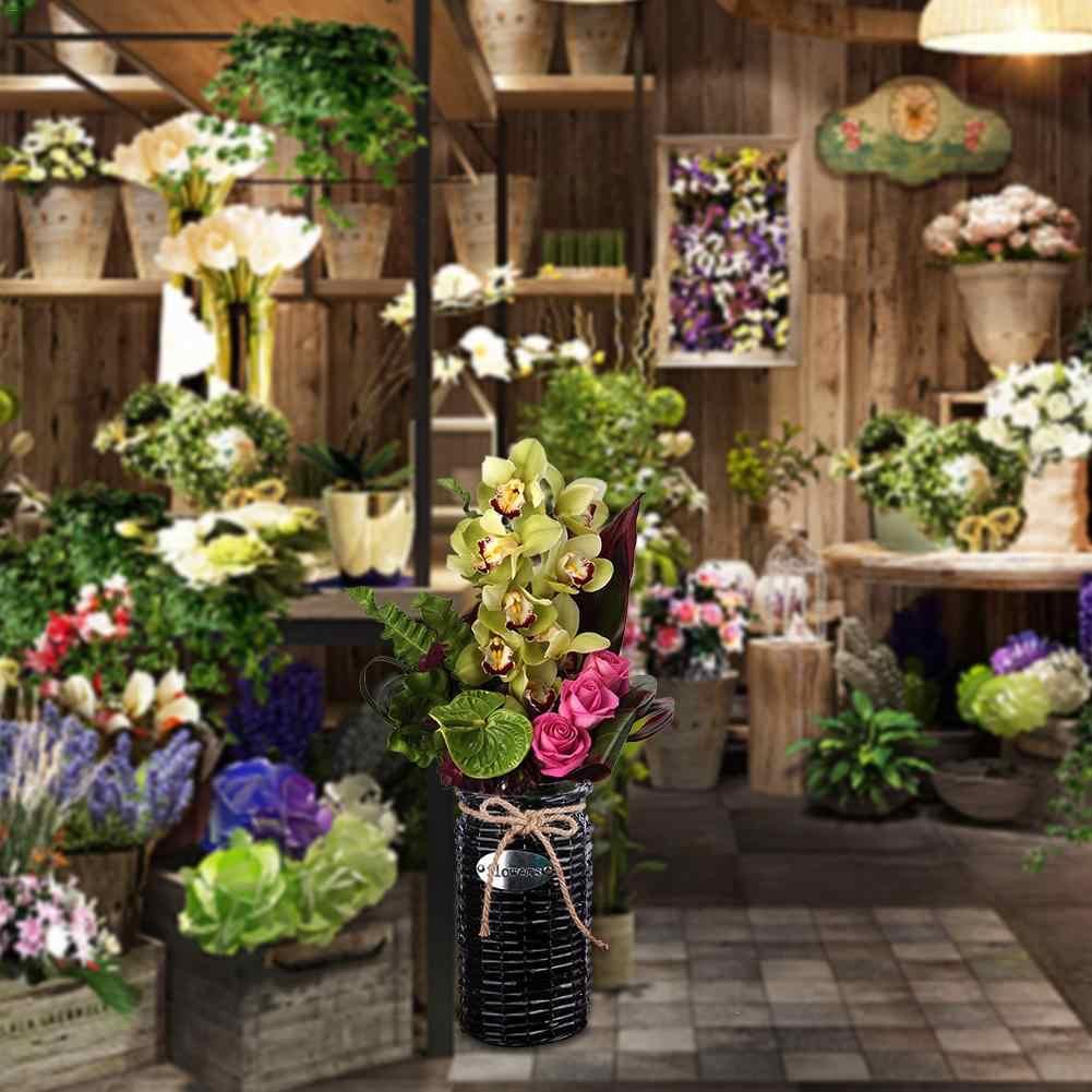 Arranjo de Flores Vaso de vime Planta Suculenta Pote Vaso de Jardim Durável Hand-made Flor Titular Decoração Desktop Em Casa