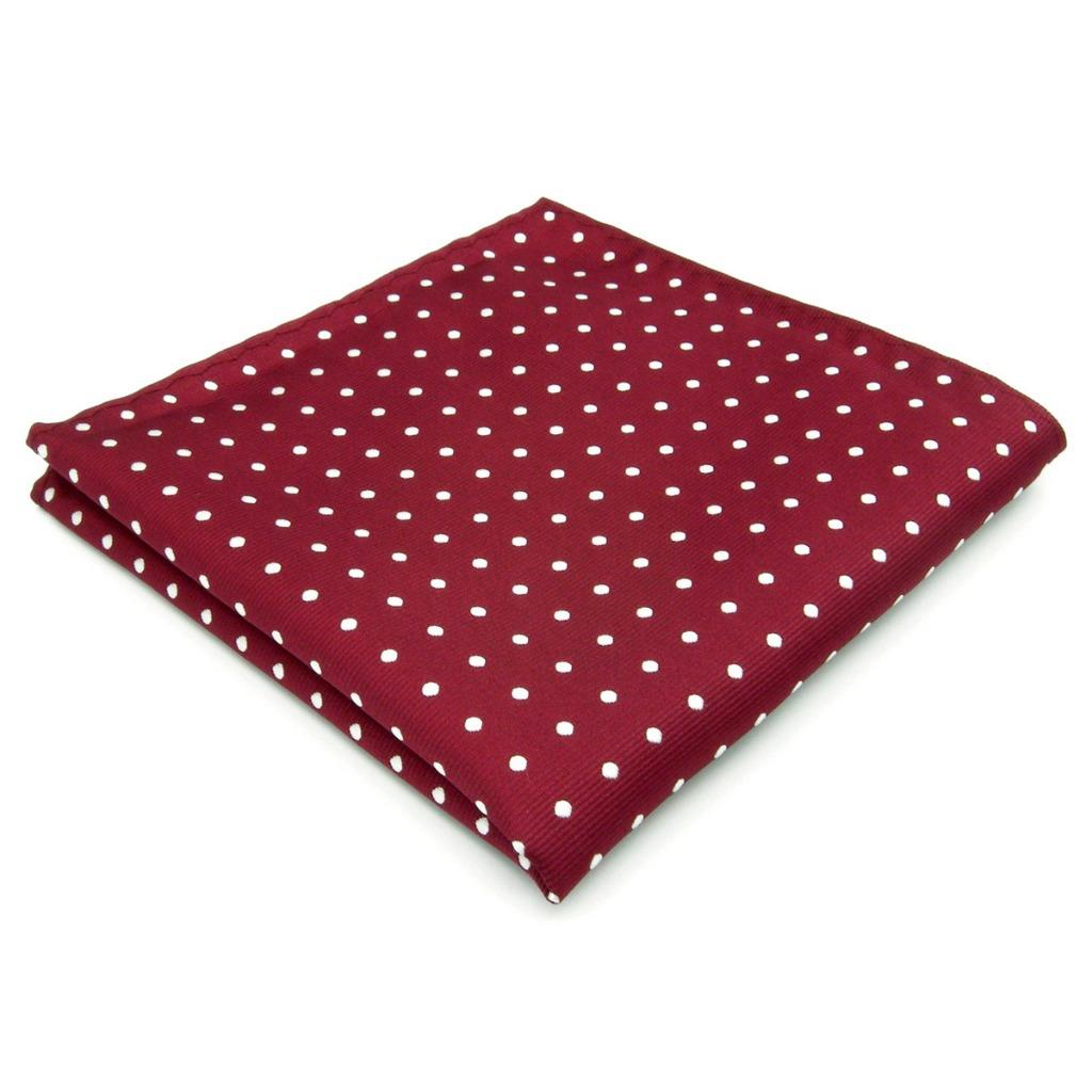 KH15 Mens Pocket Square Dots Red White Silk Wedding Brands Handkerchief Novelty