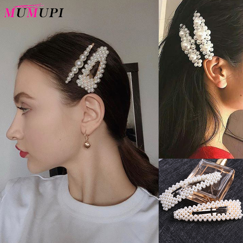 MUMUPI fashion Metal Pearl Hair Clips Women Girls Hairpin Barrette Bobby Pin hair accessories Hairgrip Baby Hair   headwear