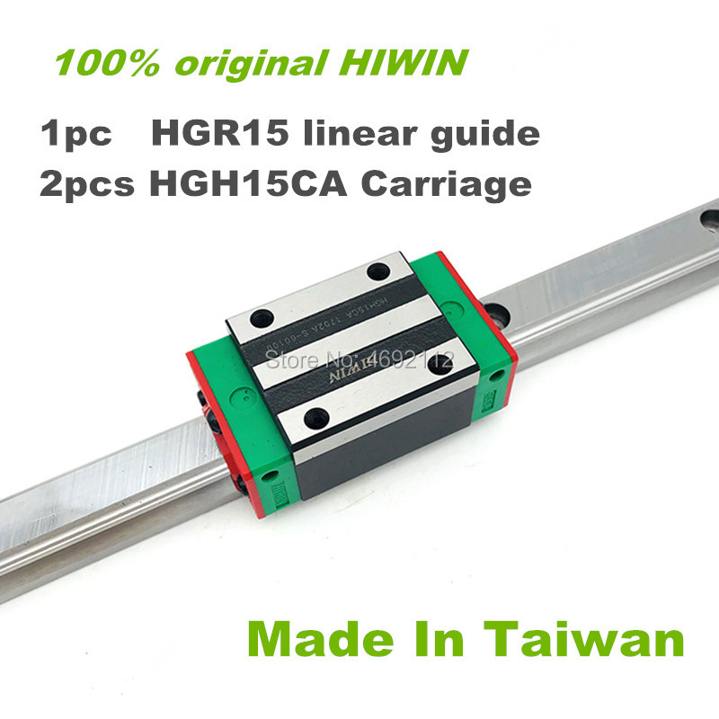 100% HIWIN trilho de guia linear 1pc HGR15 200 250 300 400 500 600 milímetros guia linear com 2pcs HGH15CA transporte bloco linear peças CNC