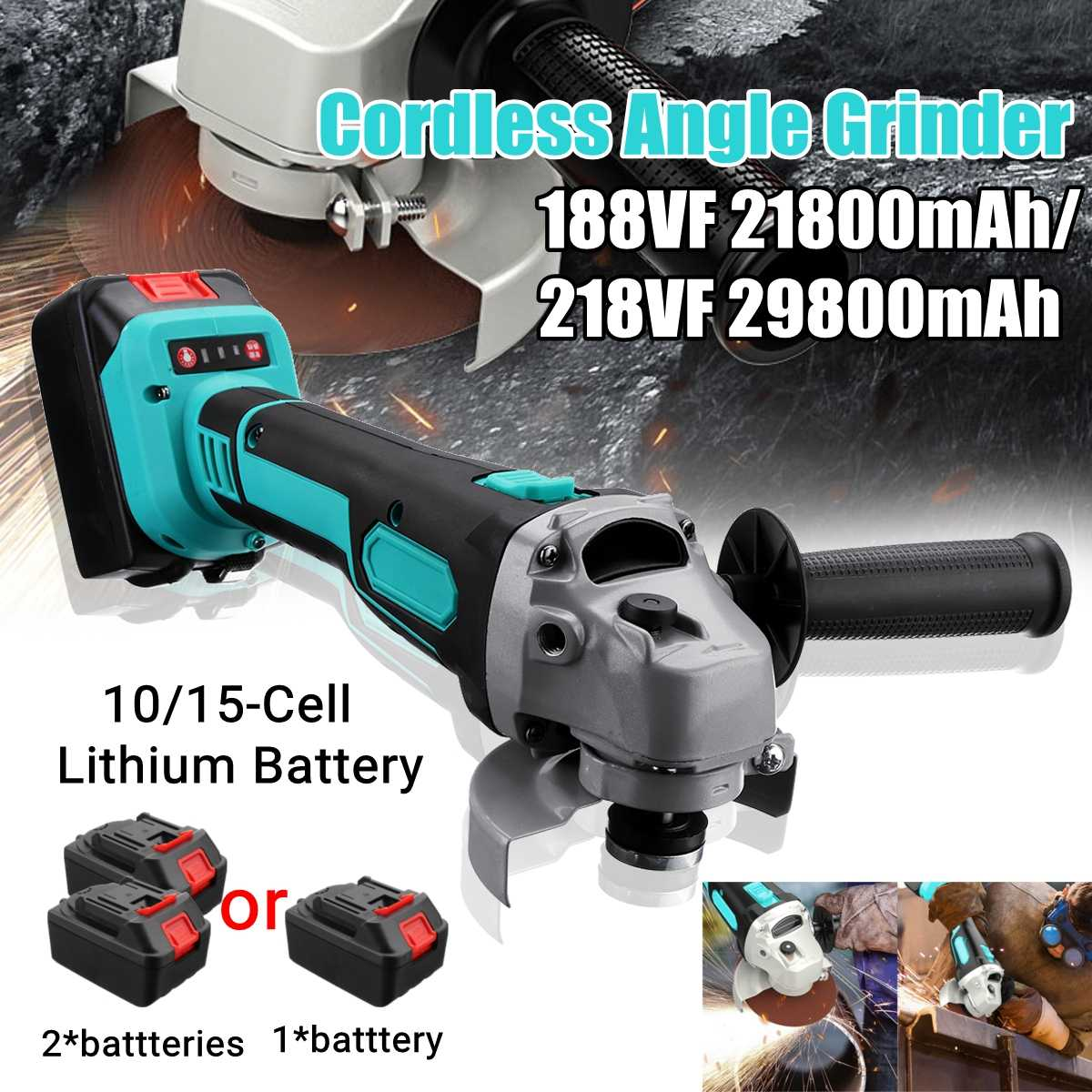 188VF/218VF Brushless Cordless Angle Grinder Electric Power Polishing Cutting W/ 1 or 2 Li-ion Battery