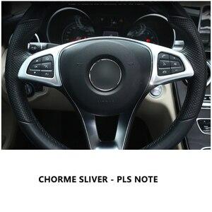 Image 4 - In Fibra di carbonio di Stile Telaio di Copertura del Volante Dellautomobile Sticker Trim Per Mercedes Benz C E GLC CLA Classe W205 W213 x253 X156 C117