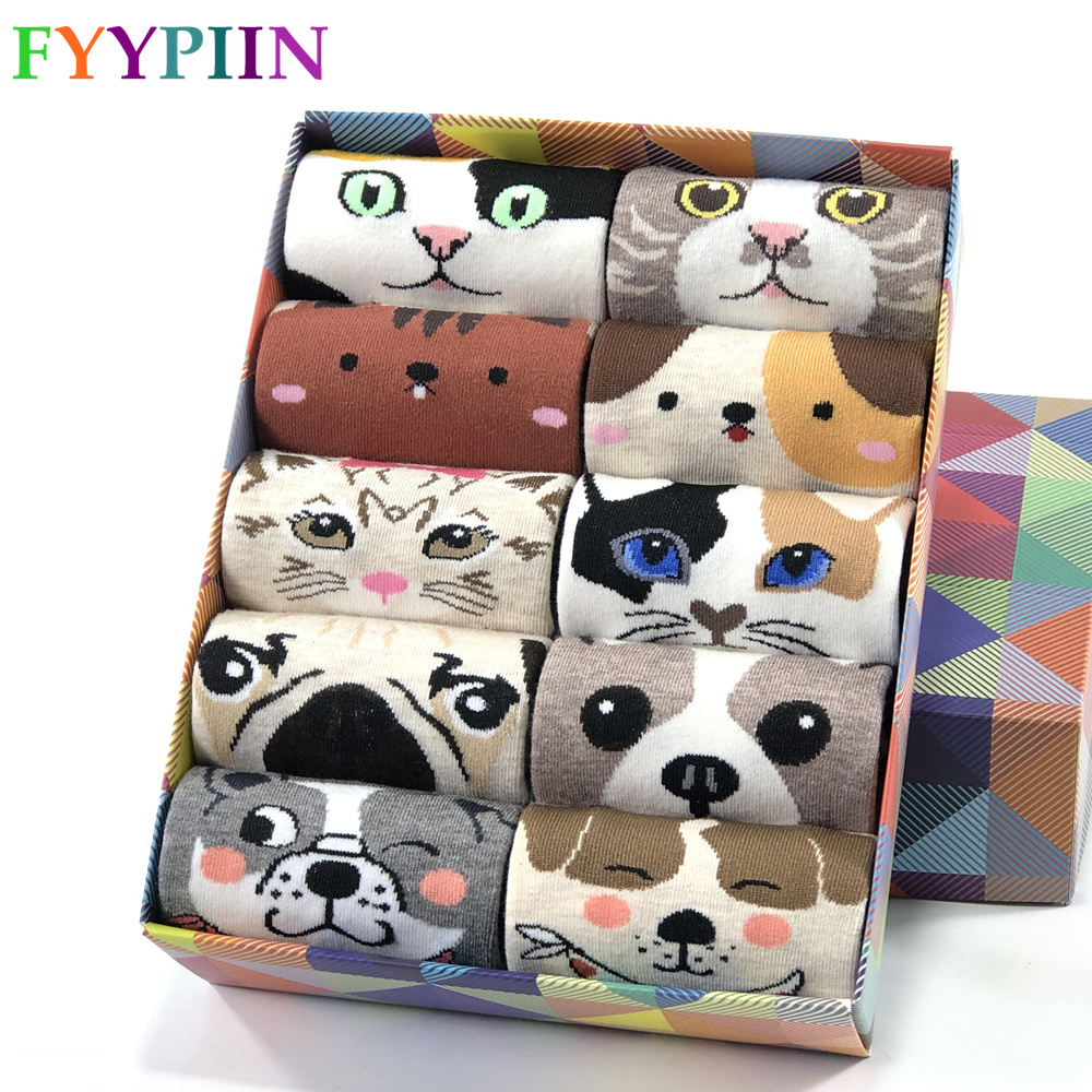 Women Socks Popular New Cartoon Pug Kitten Pattern Cotton Socks High Comment High Quality Gifts Funny Cute Socks Woman