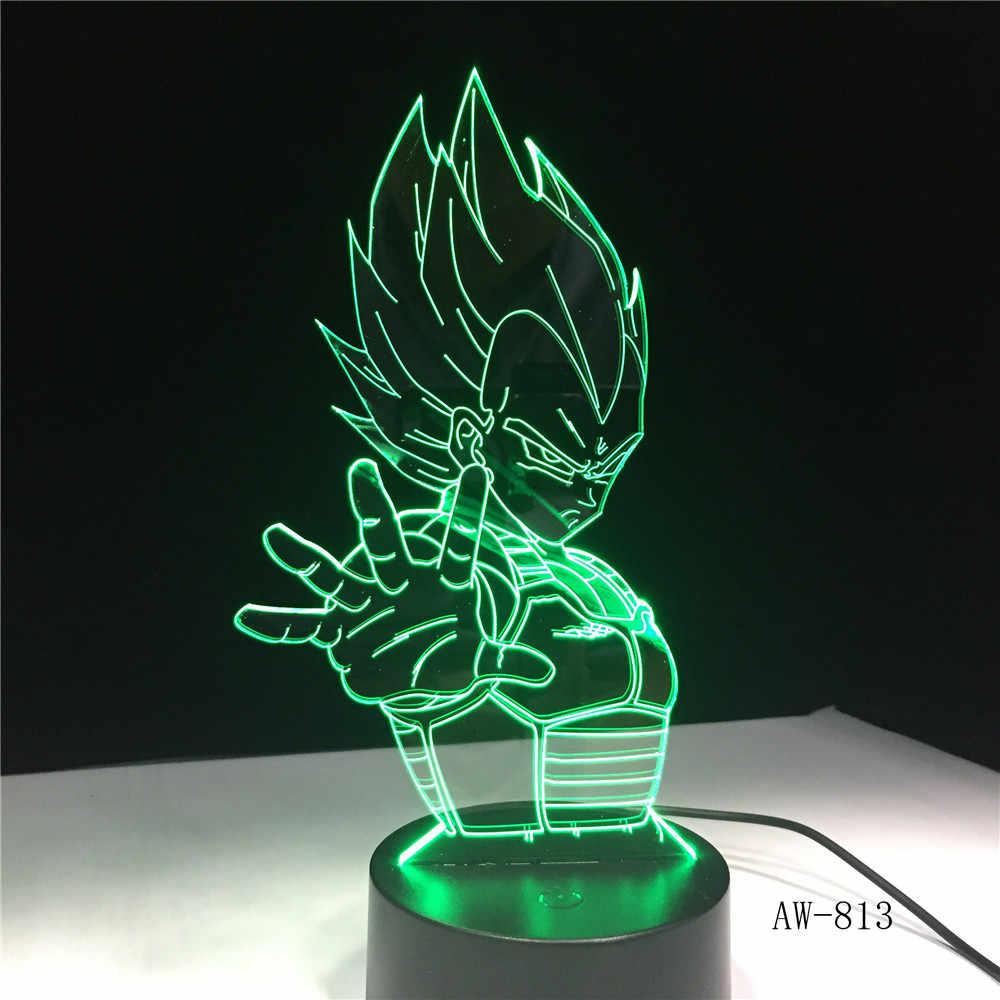 Dragon Ball Super Saiyan Deus Goku Figuras de Ação 3D Ilusão Candeeiro de Mesa 7 Mudando A Cor Night Light Menino Criança Crianças presentes AW-813