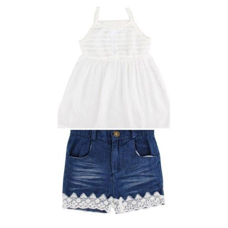 2-9 T Kinder Baby Mädchen Sommer Solide Outfits Ärmelloses Tops Weste Shorts Denim Jeans Hosen 2 Stücke Kleidung Set Casual Sunsuit