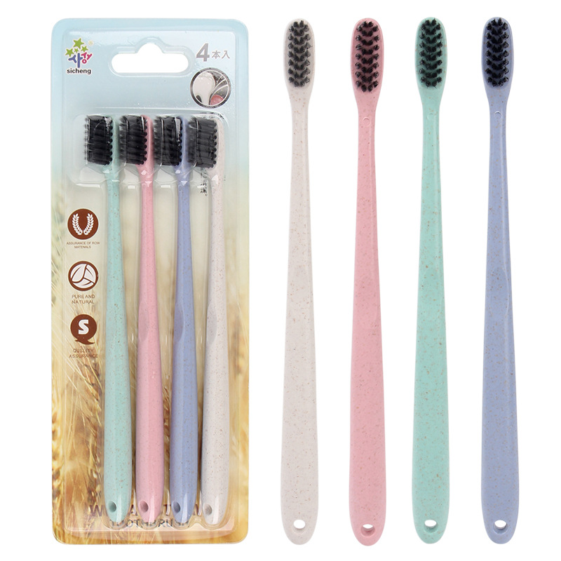 4 Pcs/set Soft Bristle Baby Toothbrush Bamboo Charcoal Teeth Brush for Kids Oral Clean Dental Care Cheap image