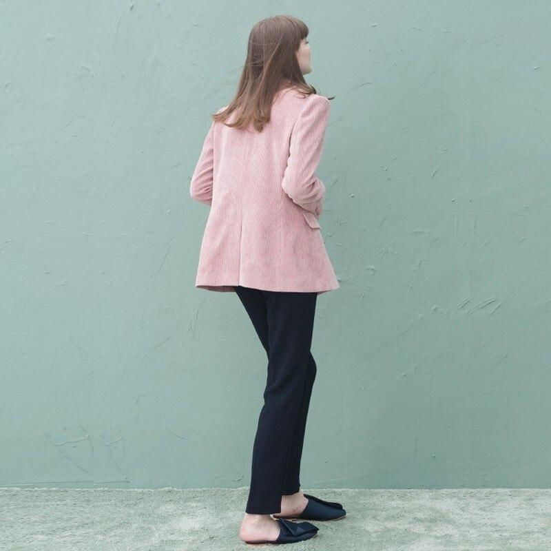 Hiver Rose Survêtement Pink De Queechalle Lady Mince Couleur Office Automne Manteau Femmes Entaillé Veste Velours Blazer Femelle Costume SAARdx8qn