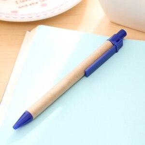 Image 5 - 100 adet/grup Mavi Mürekkep Eko Kağıt Kalem Plastik Klip Yeşil Kağıt Kalem Çevre Dostu Tükenmez Kalem Toptan Hediye Kalem