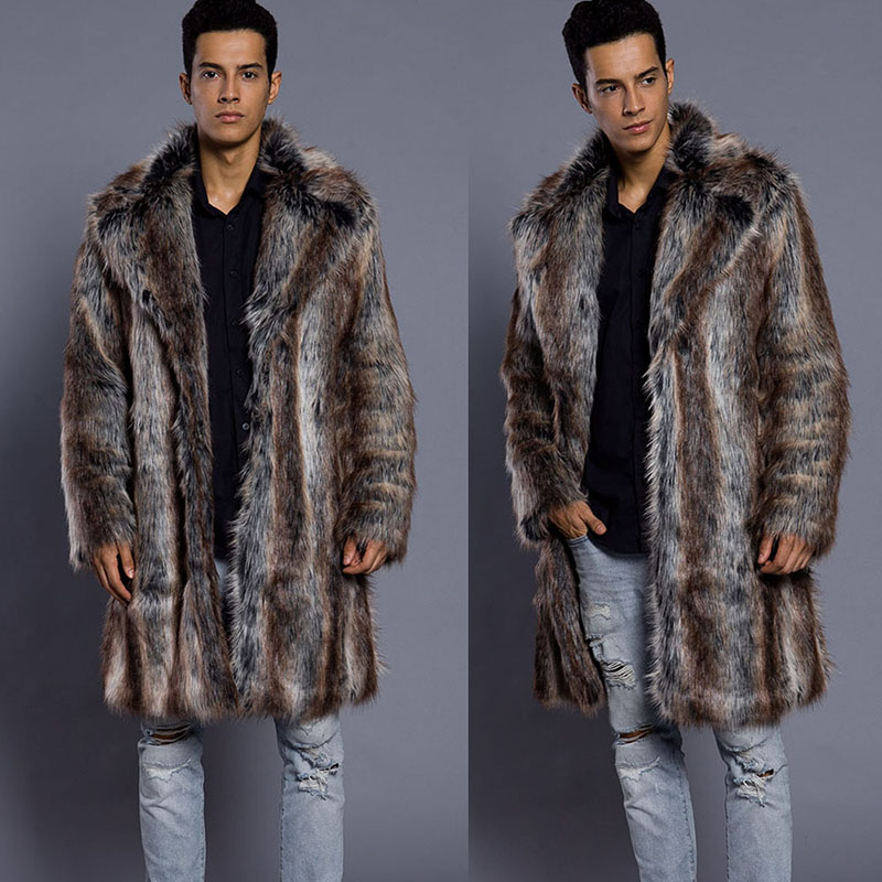 2019 New Winter Men's Turn-down Collar Faux Mink Fur Coat Printed Striped Long Windbreaker Loose Casual Male Fox Leather Jacket