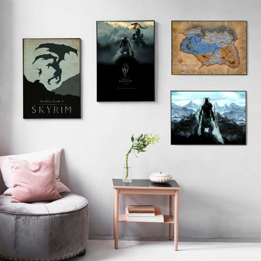 Skyrim The Elder Scrolls Game Canvas Art Painting Posters And Prints For Living Room Wall Picture Home Decor No Framed Quadro image