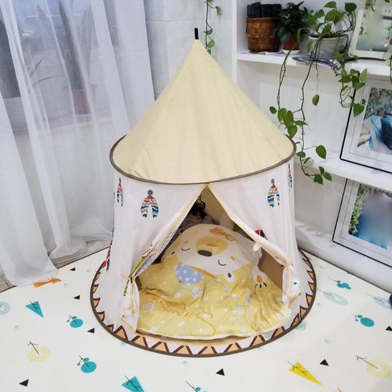 Image 2 - Детский вигвам, палатка 123*116 см, портативный Замок принцессы, подарок для детей, детская игрушка, палатка, подарок на день рождения, Рождество-in Игрушечные палатки from Игрушки и хобби on AliExpress - 11.11_Double 11_Singles' Day