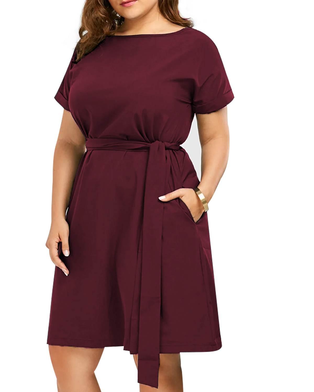 Для женщин миди платья 2019 Лето Винтаж Повседневное Твердые линия шеи экипажа короткий рукав пояс, карманы Вечеринка платье большой Размеры