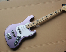 Factory custom Light Purple Electric Bass Guitar with White Pickguard,4 Strings,Maple Fingerboard,offer customized