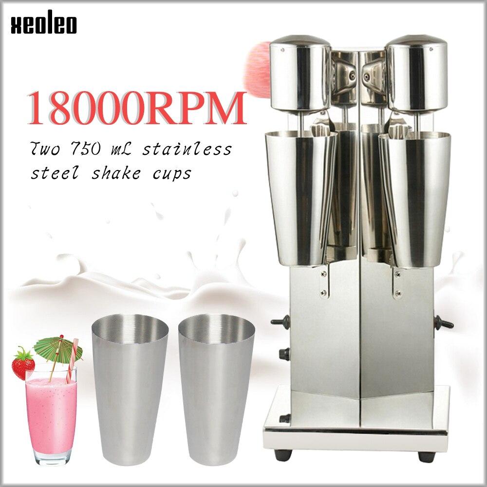 Xeoleo Milkshake de máquina de Milk Shake Máquina Cabeça de Casal de Aço Inoxidável Bebida misturador de Fazer Espuma de Leite/Milkshake de Máquina de Chá Da Bolha