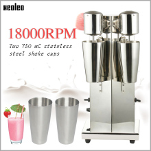 Xeoleo Commercial Stainless Steel Milk Shake Machine Double Head Mixer Blender Make Milks Foam/Milkshake Bubble Tea Machine