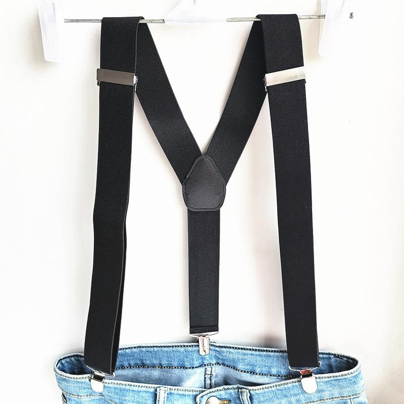 Strong Clips Black Suspender Men Women Fashion Cloth Accessories Plus+ Size Adjustable Elastic Strap Suspenders Children Adult