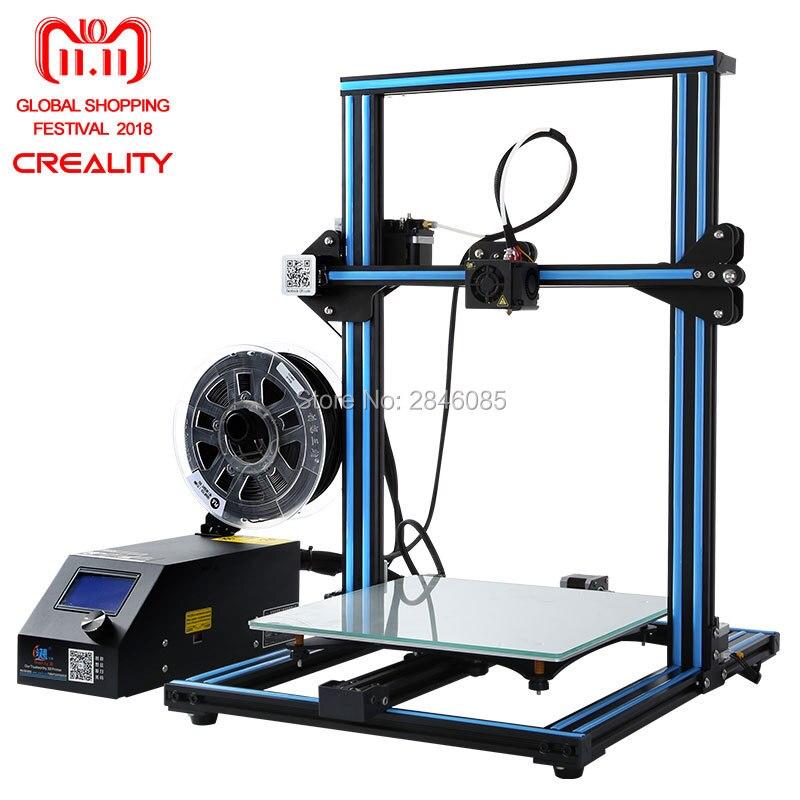 A buon mercato Creality CR-10 3D Stampante di Grande Formato di Stampa 300*300*400mm Semi FAI DA TE 3D Stampante Kit di Alluminio riscaldata letto Filamento Libero Strumento