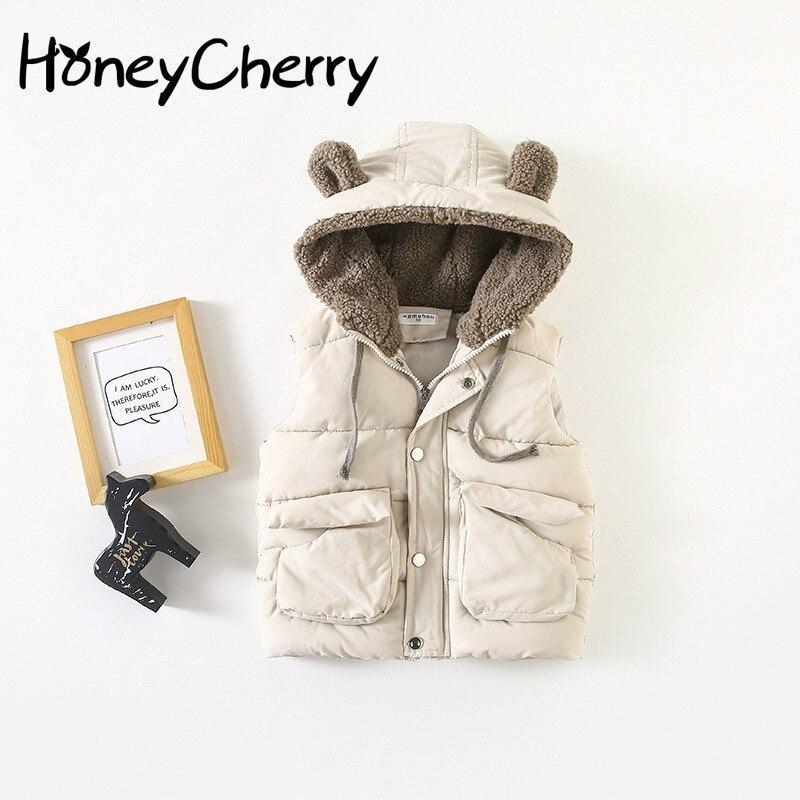2018 New Hooded Children's Vest Big Vest Waistcoats For Boys Children Outerwear Winter Jackets Coats Baby Girl Vest