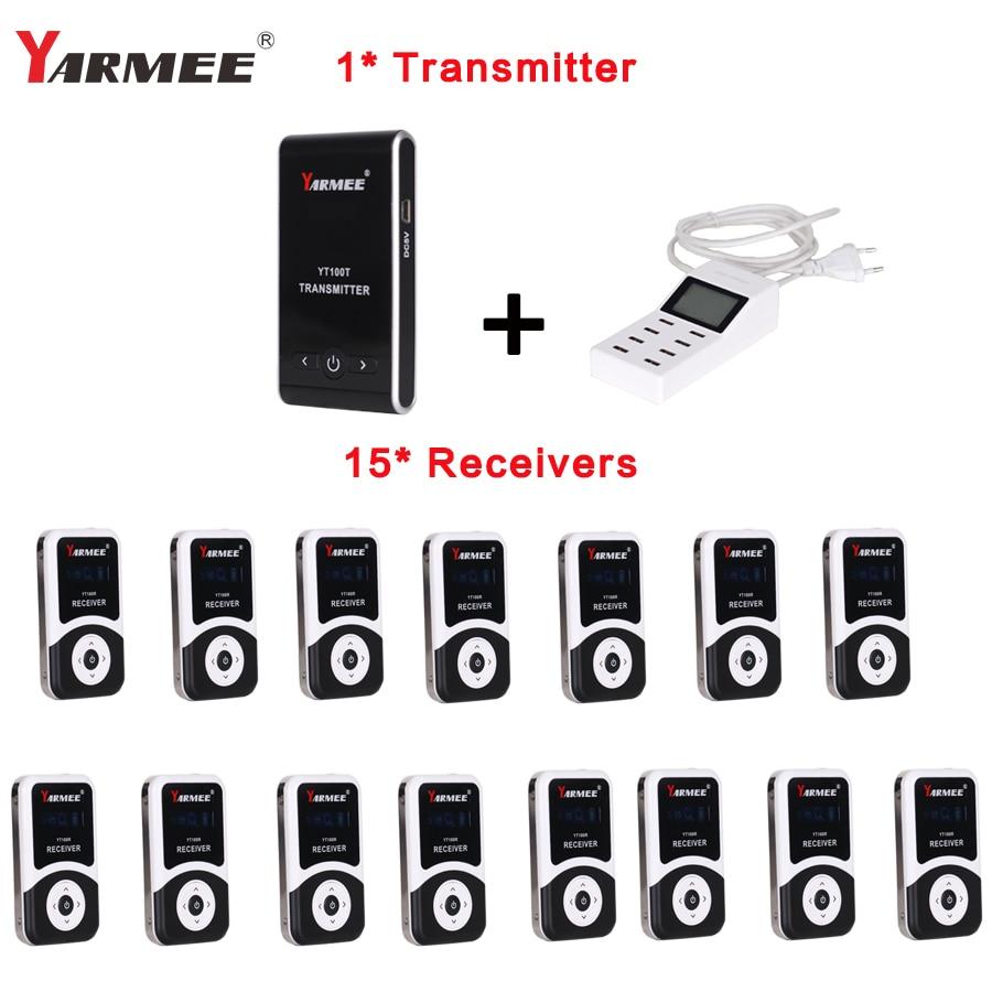 Livraison Chargeur YT100 Sans Fil Tour Guide Système 1 Émetteur + 15 Récepteurs Pour Réunion Visite Enseignement 195-230 mhz portable