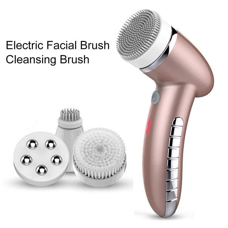 4 In 1 Electric Women 100% Safe Wash Facial Cleansing Brush IPX6 USB  Female Electric Face Cleaning Apparatus
