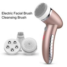 4 In 1 Electric women 100% safe wash facial Cleansing Brush IPX6 USB  female electric face cleaning apparatus touchbeauty beauty apparatus 3 in 1 rotating electric facial cleansing brush compact portable beauty apparatus skin care new