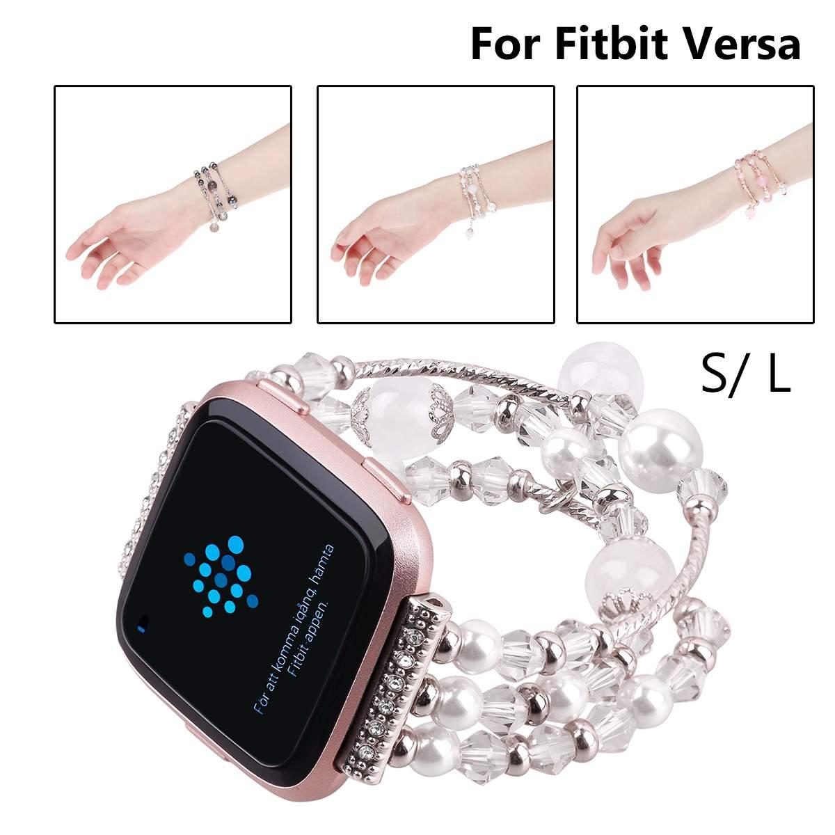 S/L NewFashion Beaded Sport Watch Bands Strap Replacement for Fitbit Versa Smart Bracelet Wristband Smart Watchbands Accessories