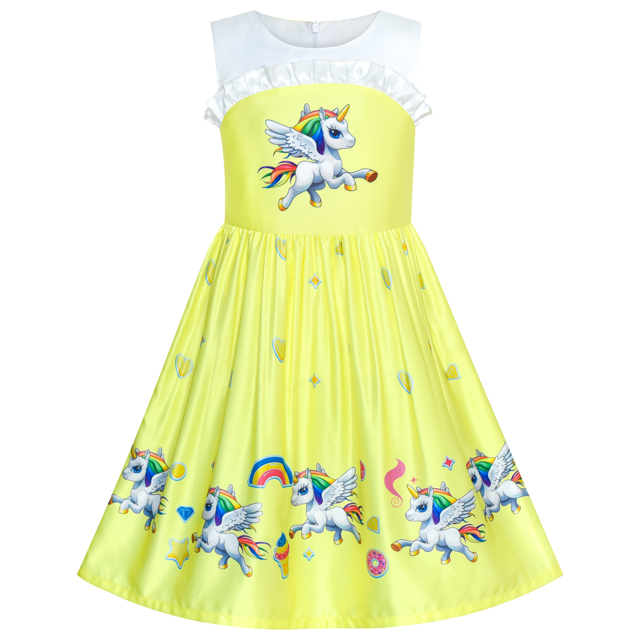 Girls Dress Yellow Unicorn Birthday Party 2019 Summer Princess Wedding Dresses Kids Clothes Pageant Sundress Vestidos sunny fashion girls dress birthday cupcake polka dot birthday princess 2018 summer wedding party dresses kids clothes size 3 8