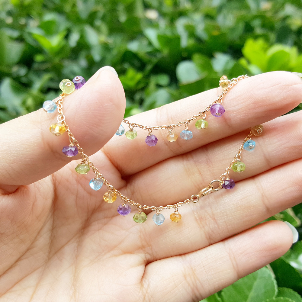 Lii Ji améthyste Citrine topaze péridot Bracelet en chaîne pierre précieuse naturelle 925 argent Sterling plaqué or fait à la main Bracelet délicat