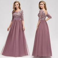 Lace Dusty Pink Bridesmaid Dresses Ever Pretty Half Sleeve Elegant Women Chiffon Long Bridesmaid Dresses Wedding Party Dresses