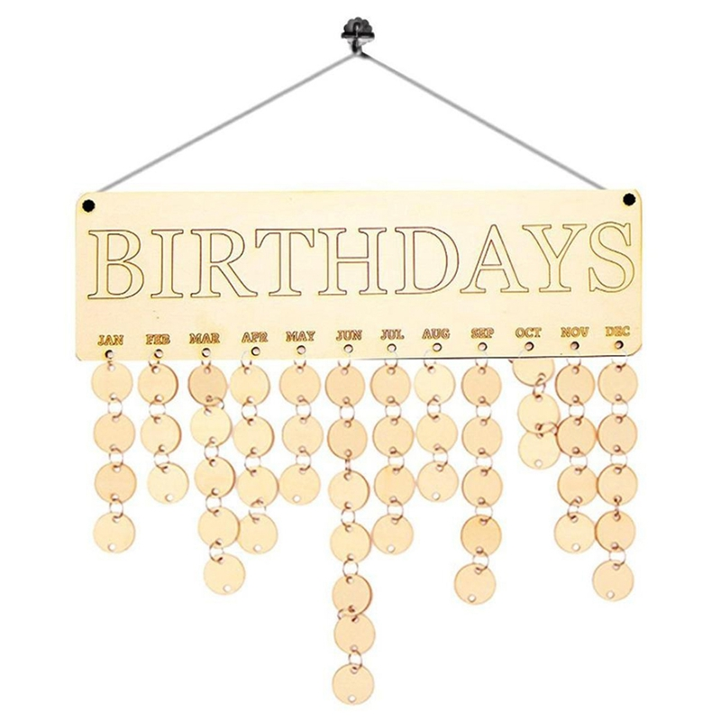 Calendar Board,Wood Birthday Reminder Board Birch Ply Plaque Sign Family &Friends DIY Calendar By Dacawin (B)