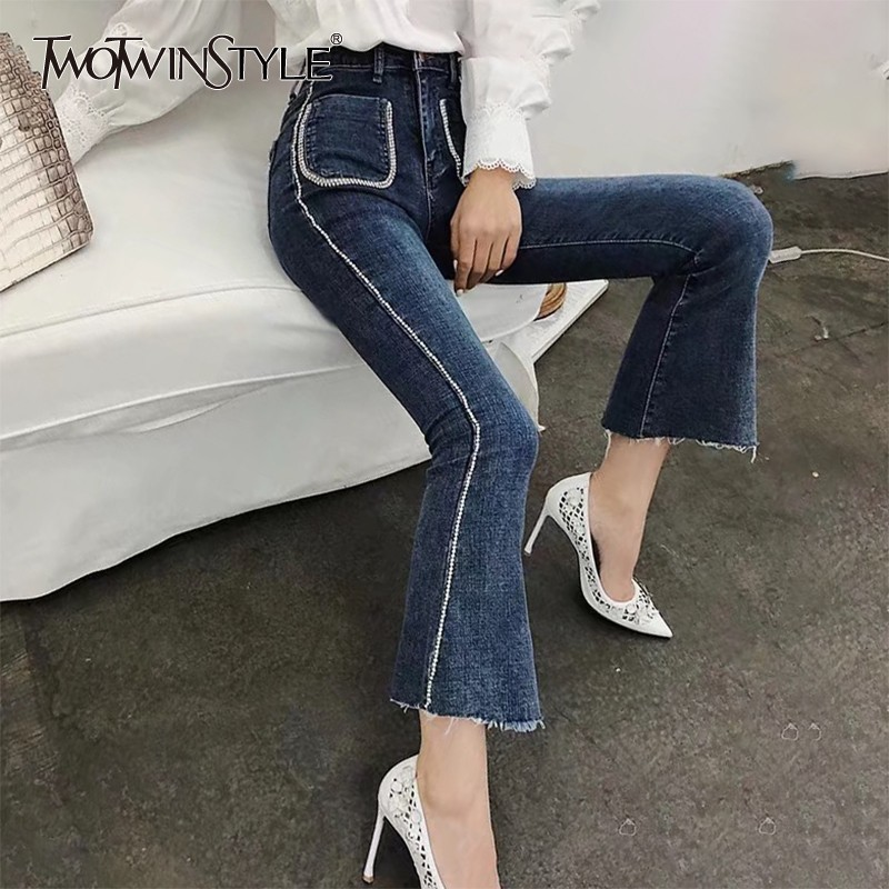 TWOTWINSTYLE Beadings Patchwork   Jeans   Women Fronts Pockets High Waist Denim Flare Pants Female Korean 2019 Spring Fashion New