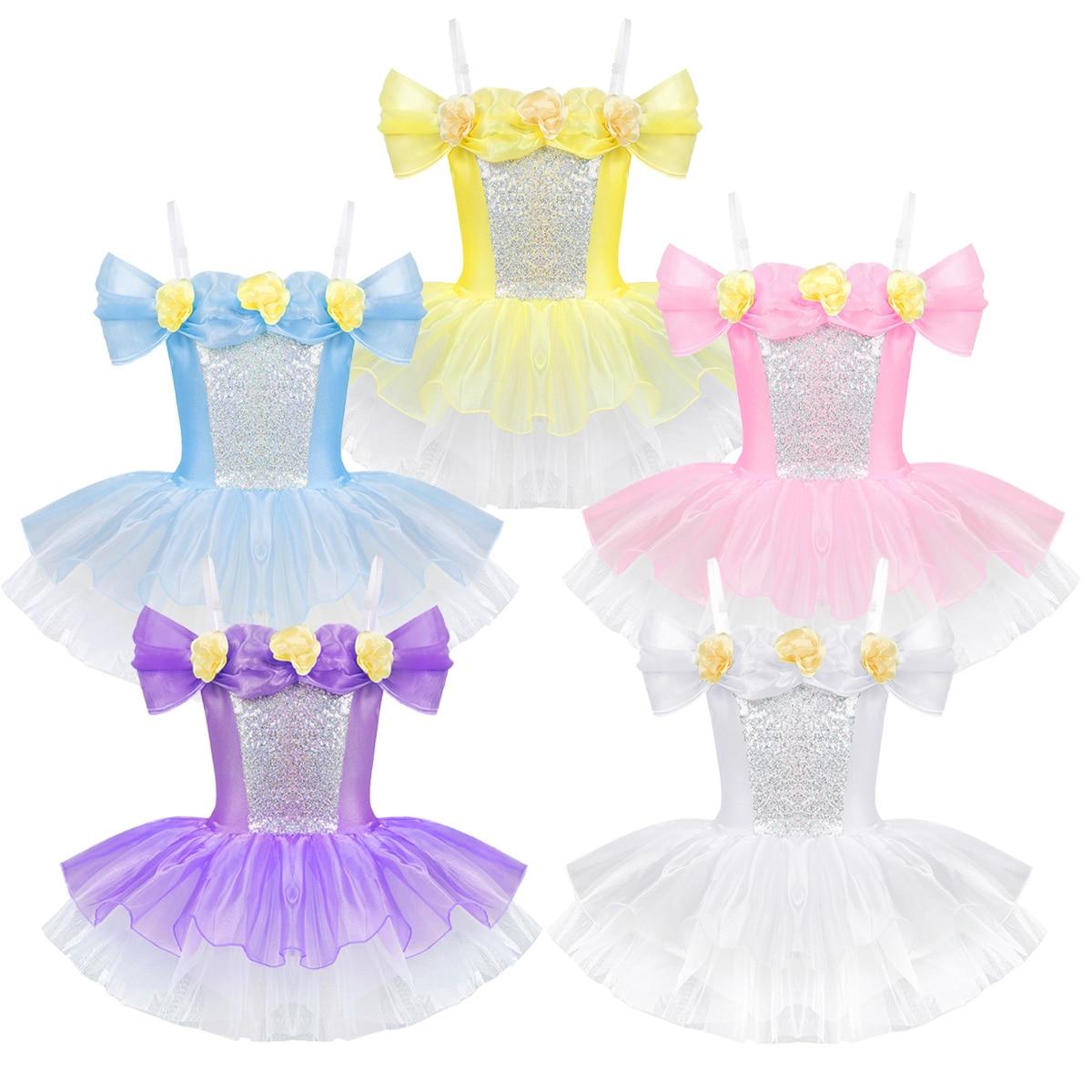 Image 2 - iiniim Kids Ballerina Shoulder Straps Off Shoulder Design 3D Flowers Ballet Dance Wear Gymnastics Leotard Girls Tutu DressBallet   -