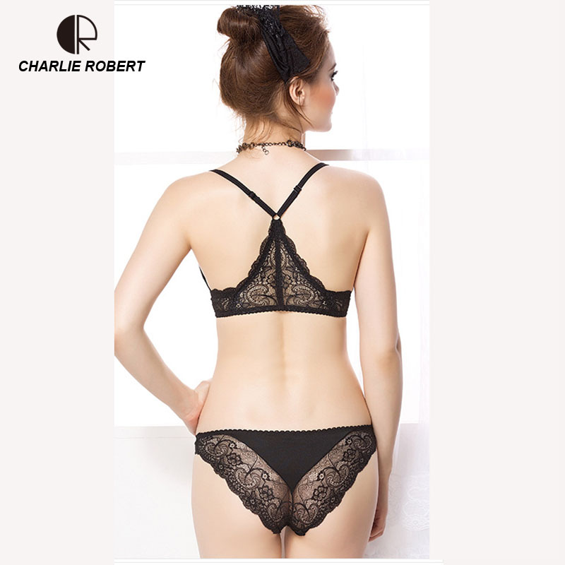 CR Intimates 2017 New Women Sexy Lingerie Lace Y-line Straps Front Closure   Bra   Hollow Out Panties   Bra     set   Underwear WI473