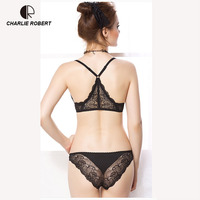 CR Intimates 2017 New Women Sexy Lingerie Lace Y line Straps Front Closure Bra Hollow Out Panties Bra set Underwear WI473