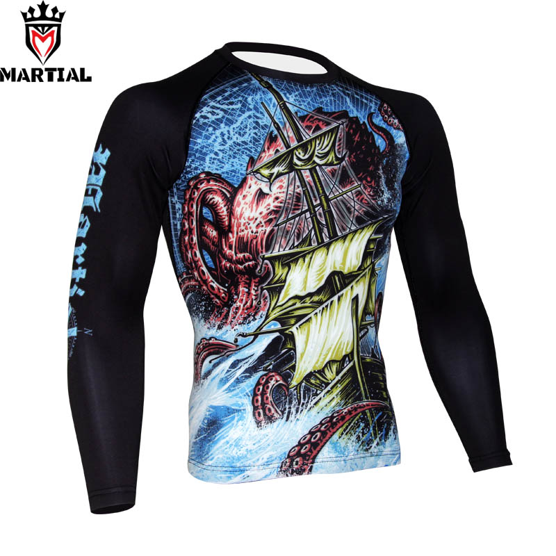 Martial The EXPLORATION printed mma rashguards BJJ jersey boxing compression tops CrossFit Trainning shirts gym t