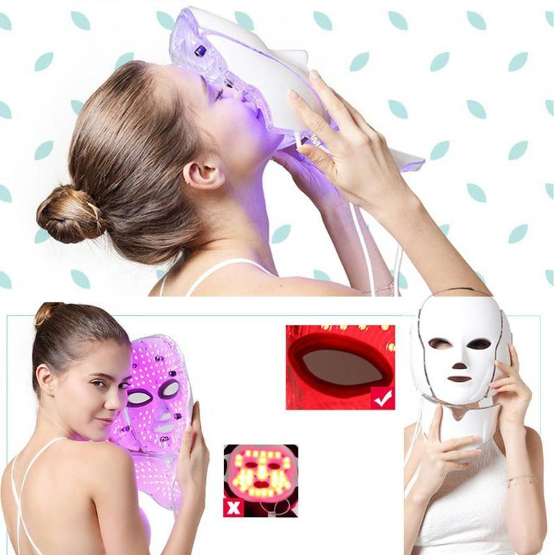 7 Colors Light LED Facial Mask With Neck Skin Rejuvenation Face Massage Beauty Anti Acne Therapy Whitening Skin Tighten Massage led neck massager vibration therapy neck skin care tighten anti ageing wrinkles skin lifting beauty machine massage device l3
