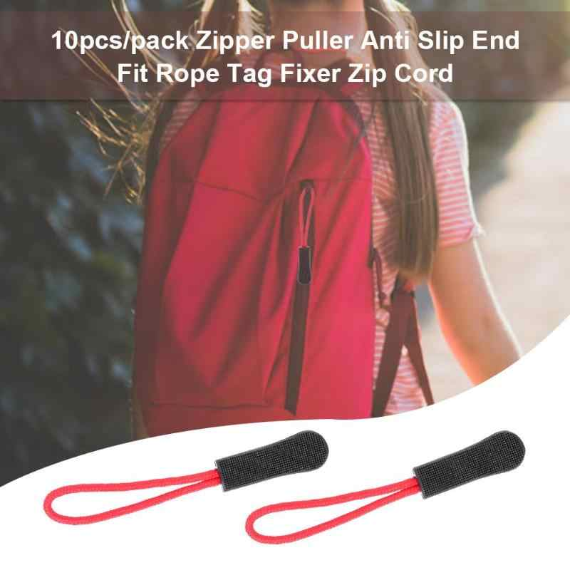 10pcs/pack Zipper Puller Anti Slip End Fit Rope Tag Fixer Zip Cord Tab Clip Outdoor Plastic elastic rope Suitable for Bag