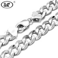 WK Super Long Thick Male Mens Silver Chain 925 Sterling Silver Hip Hop Necklace For Men 50 55 60 65 70 75 CM 4MM 12MM W4 NM005