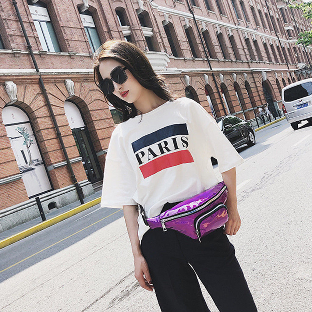2019 New Fashion Women Squins Waist Bags Women's Fanny Pack Shiny Leather Pouch Belt Waist Bum Bag Waist Phone Waist Packs