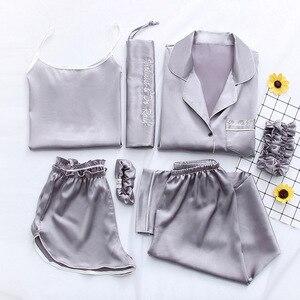 Image 4 - 2019 Summer Women 7 Pieces Silk Pajamas Satin Pyjamas Set Sleepwear Sexy Pijama Nightsuit Female Sleep Loungewear