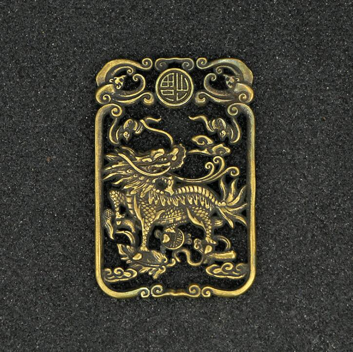 Collection Chinese Brass Carved Animal Kirin Blessing Card Exquisite Small Pendant Statues