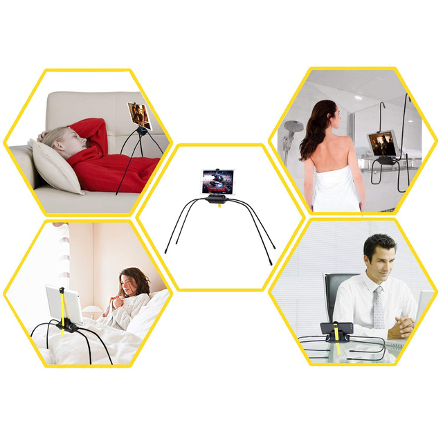 Black Color ABS Material Flexible Tablet Holder For Bed Newest Adjustable Stand For iPad Tablet and Cell Phone soporte tablet 5