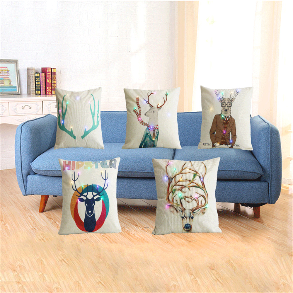 LED Nordic Style Deer Cushion Covers Pillow Cases Linen Cotton pillow Covers Bedroom Sofa Decoration Car Seat Waist Support