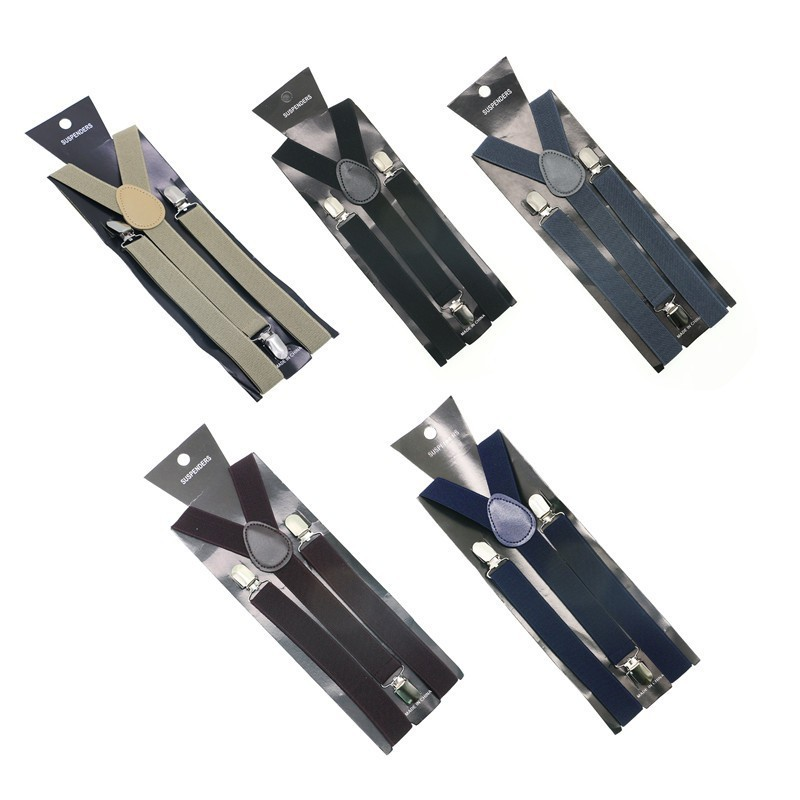 Mens Adult Womens Unisex Clip-on Suspenders Elastic Y-Shape Adjustable Braces 2.5cm Width Candy Color