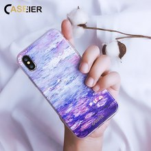 CASEIER Monet Oil Printing Phone Case For iPhone 6 6s X 8 7 Plus Soft Silicone Cover For iPhone XS MAX XR 5S Cases Shell Fundas цена и фото